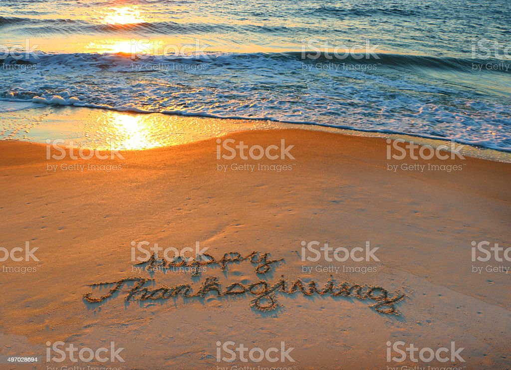 Thankful from the Beach stock photo