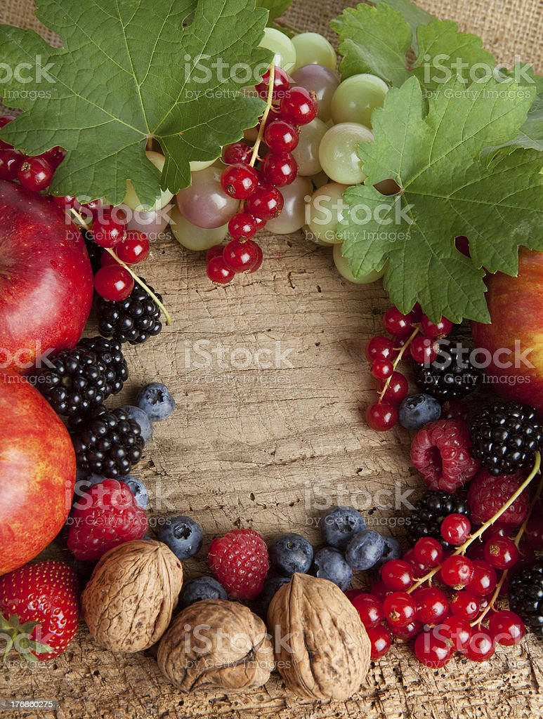 Thankgiving board with lots of fruits royalty-free stock photo