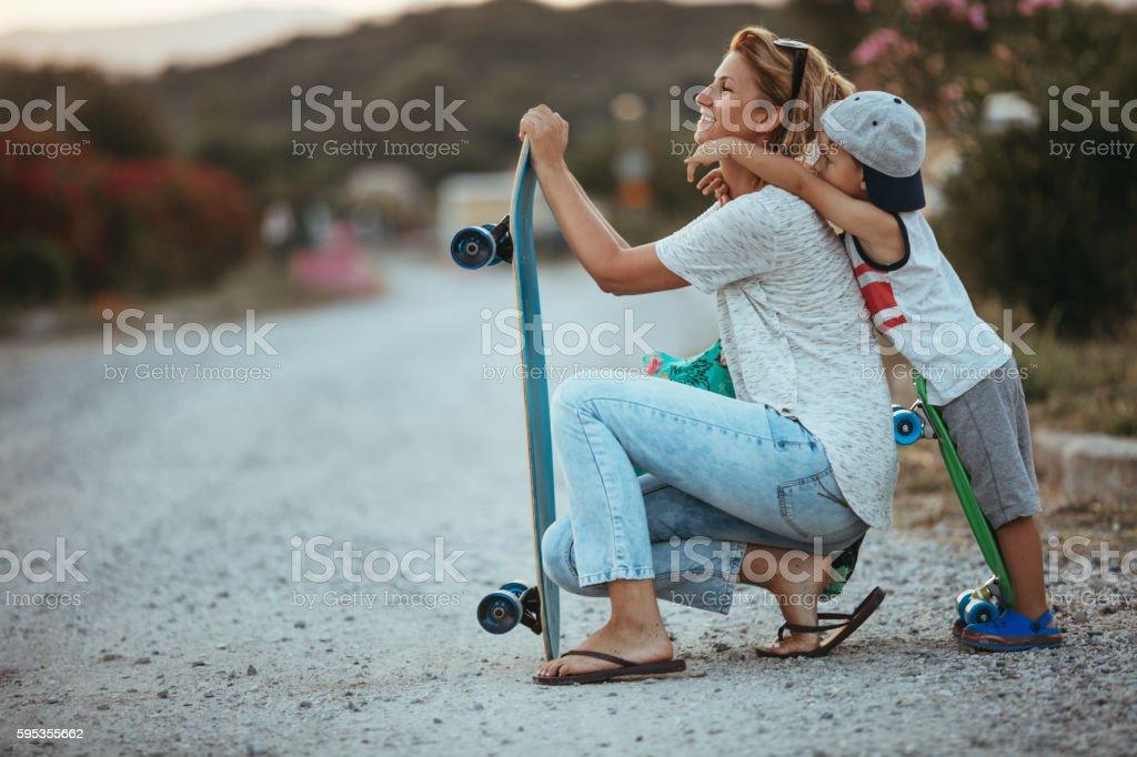Thanks for skating lessons, mom stock photo