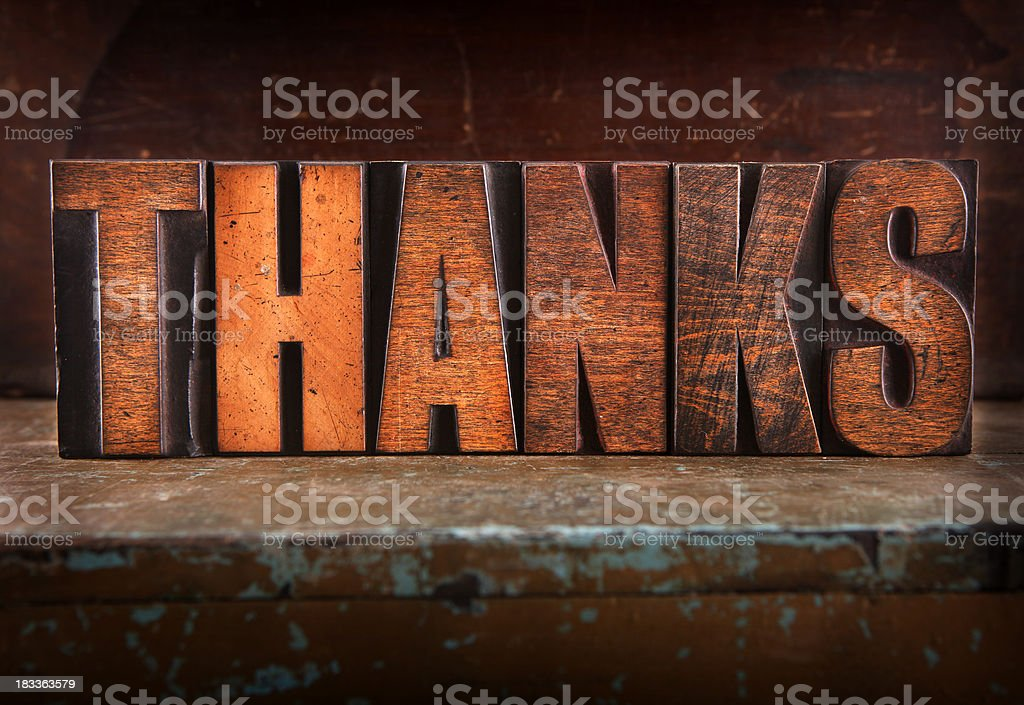 Thanks - Letterpress letters royalty-free stock photo