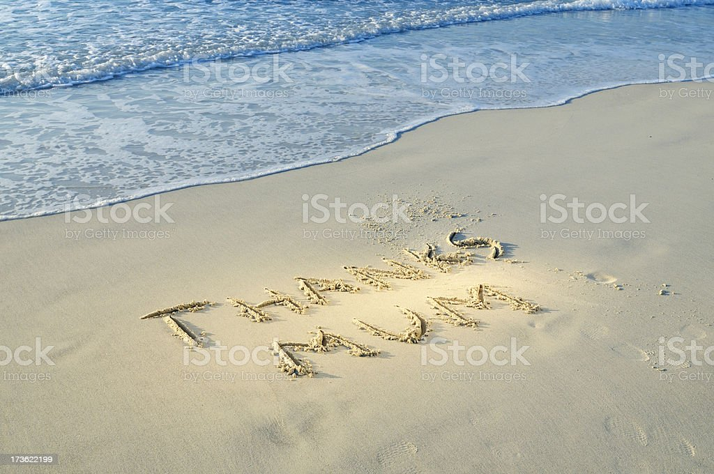 Thanks Mum Written in the Sand on Mothers Day royalty-free stock photo