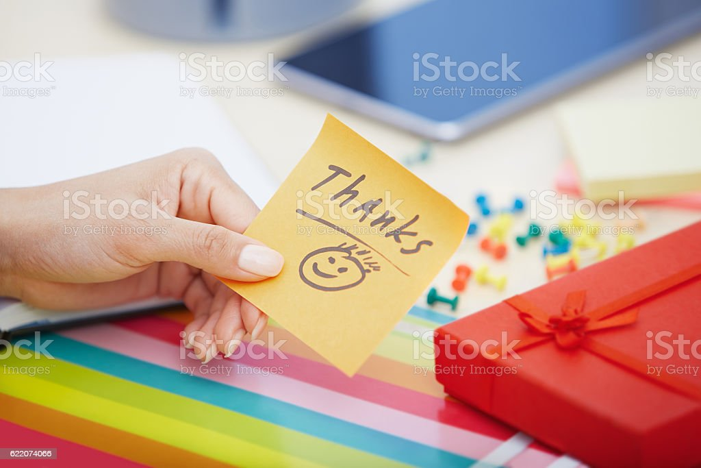 Thanks text on adhesive note stock photo