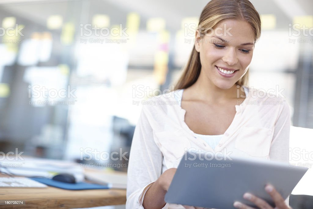 Thanks to my tablet, I can do business from anywhere! royalty-free stock photo