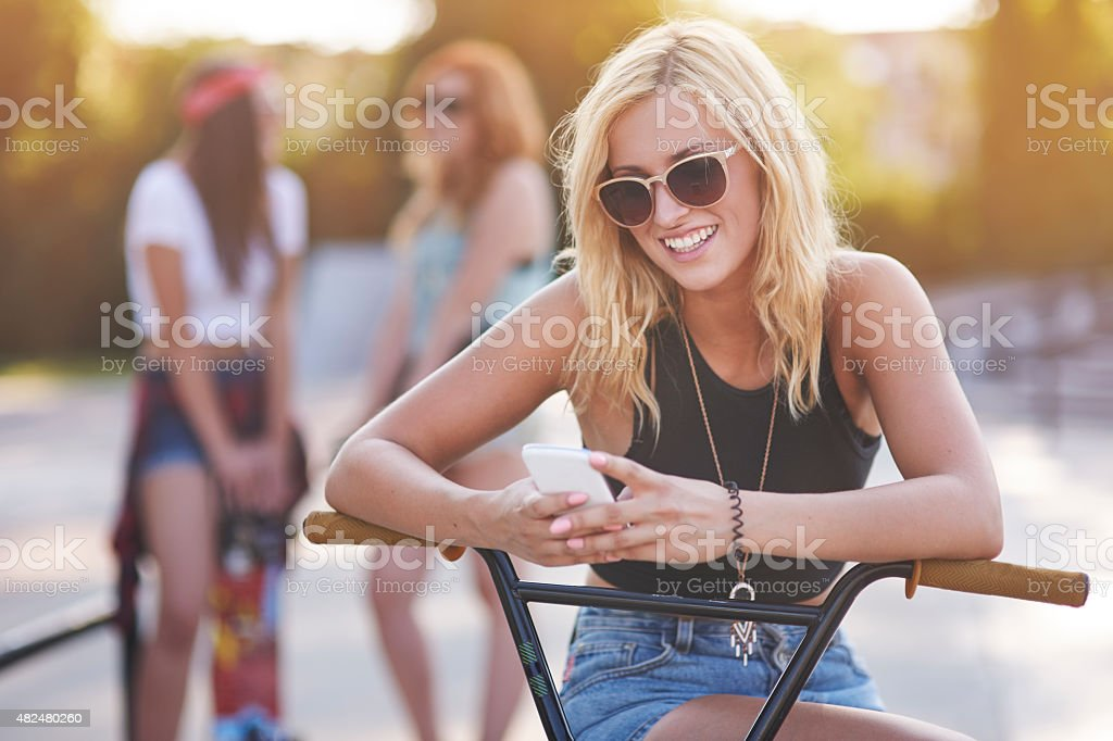 Thanks to wireless Internet we are always in touch stock photo