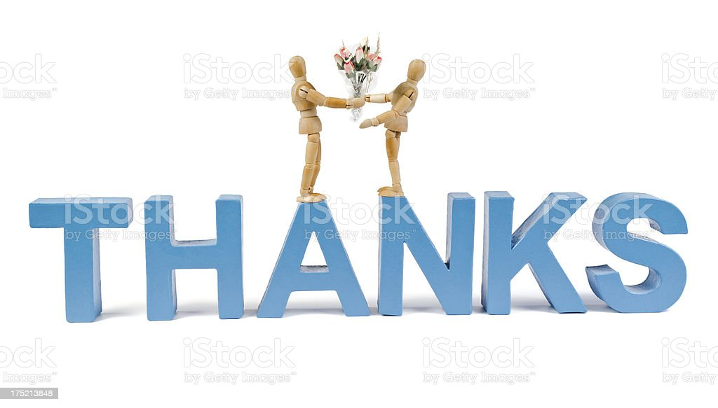 Thanks - Wooden Mannequin demonstrating this word stock photo