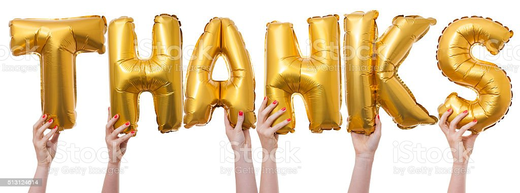 Thanks word made from gold balloons stock photo