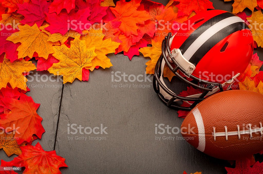 Thanksgiving american football game concept with copyspace stock photo