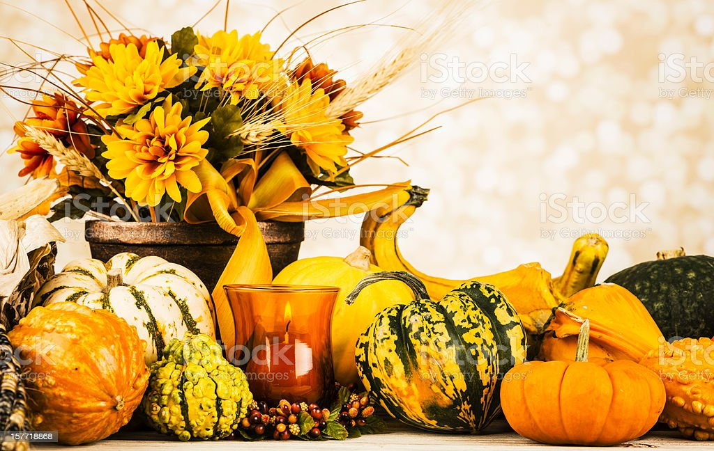 Thanksgiving Arrangement with Burning Candle royalty-free stock photo
