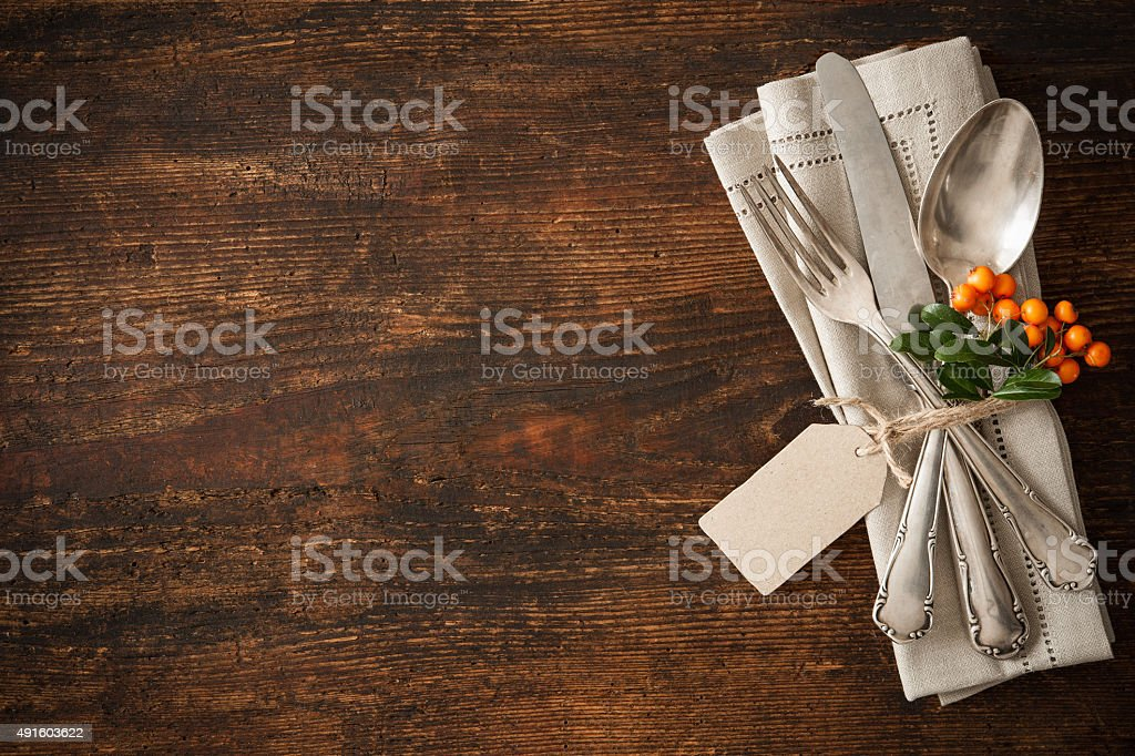 Thanksgiving autumn place setting stock photo