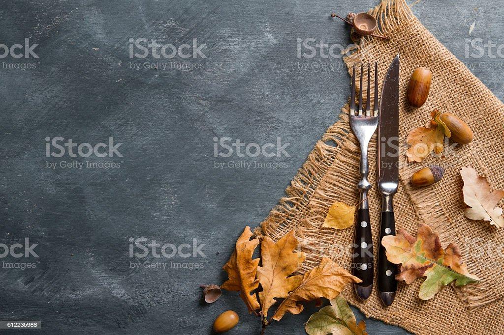 Thanksgiving autumn place setting stock photo