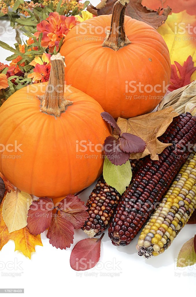 Thanksgiving background - pumpkins and leaves royalty-free stock photo
