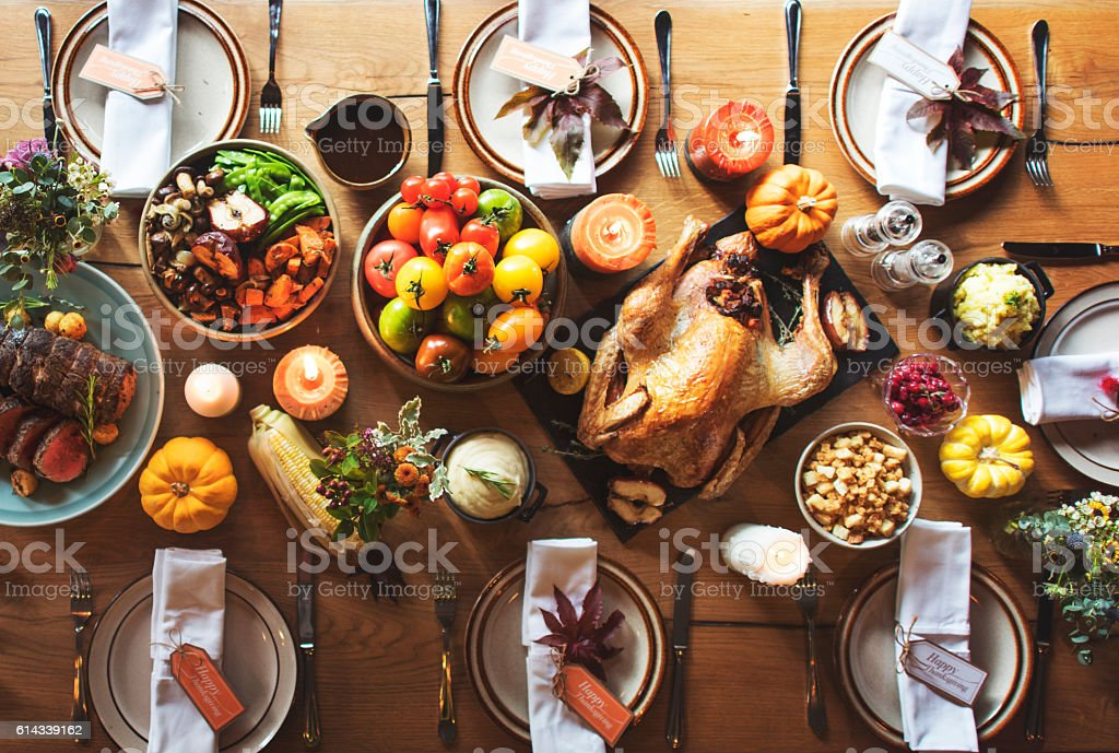 Thanksgiving Celebration Traditional Dinner Table Setting Concep stock photo