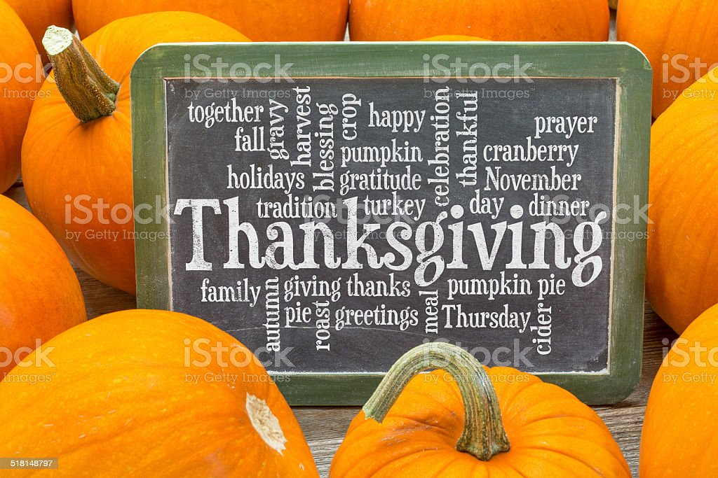 Thanksgiving celebration word cloud stock photo