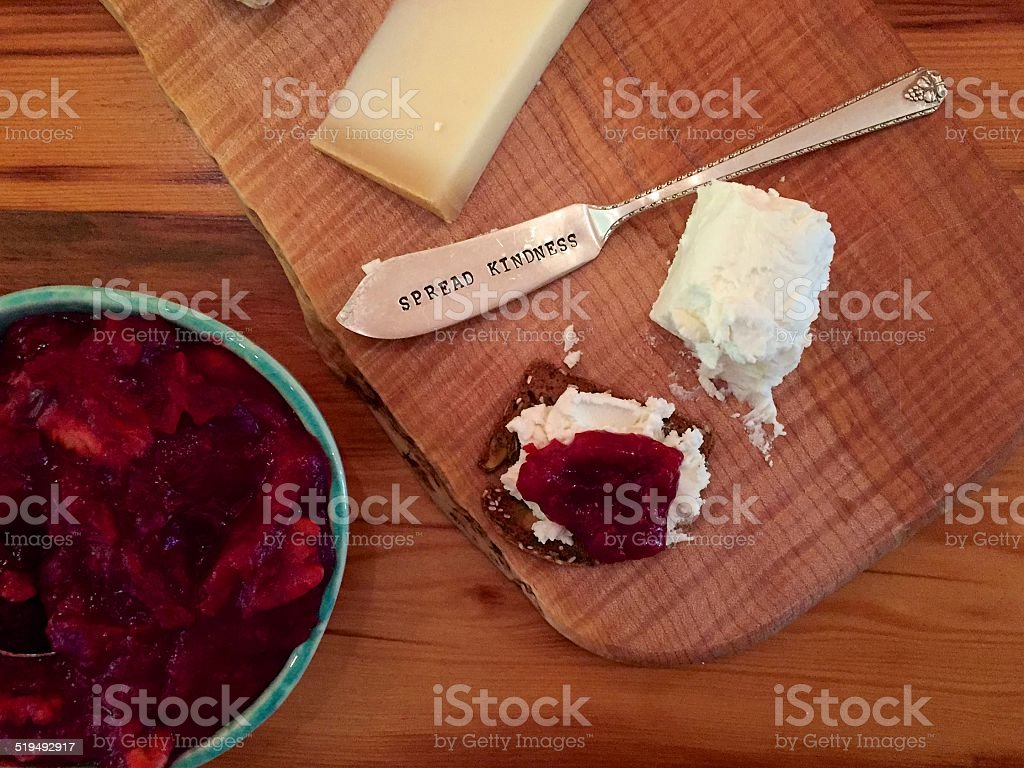 Thanksgiving cheese plate with cranberry compote - gratitude stock photo