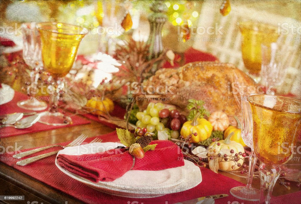 Thanksgiving Christmas Elegant Holiday Turkey Dinner and Christmas Tree stock photo