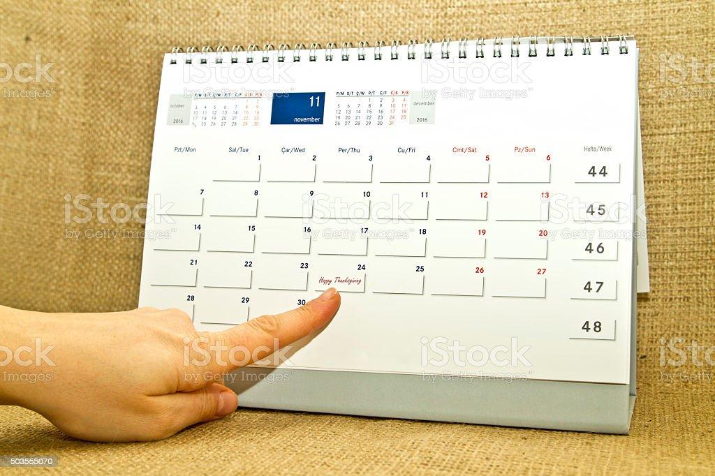 Thanksgiving Day Concept. 24 November 2016 calendar stock photo