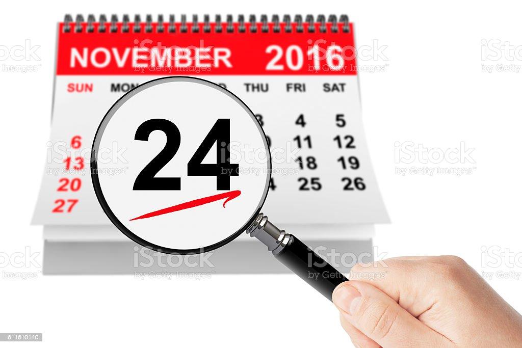 Thanksgiving Day Concept. 24 November 2016 calendar with magnifi stock photo