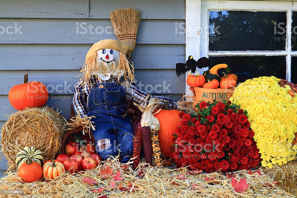 Thanksgiving Decoration of Country House stock photo