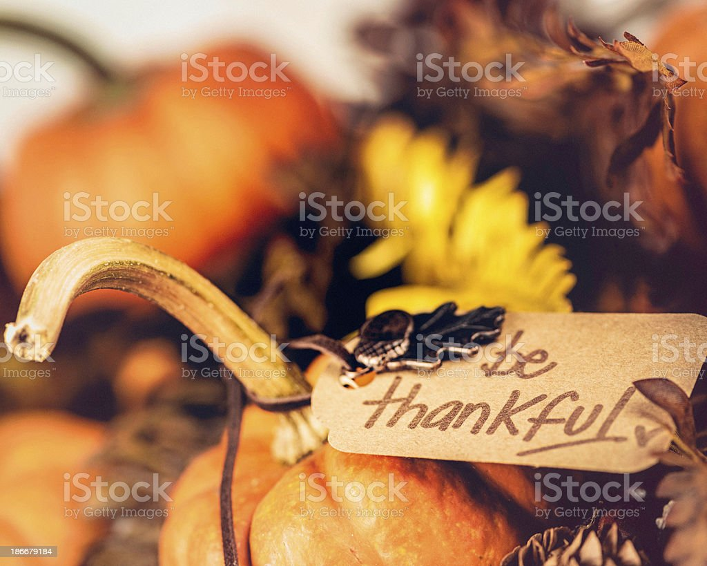 Thanksgiving Decorations - Be Thankful royalty-free stock photo