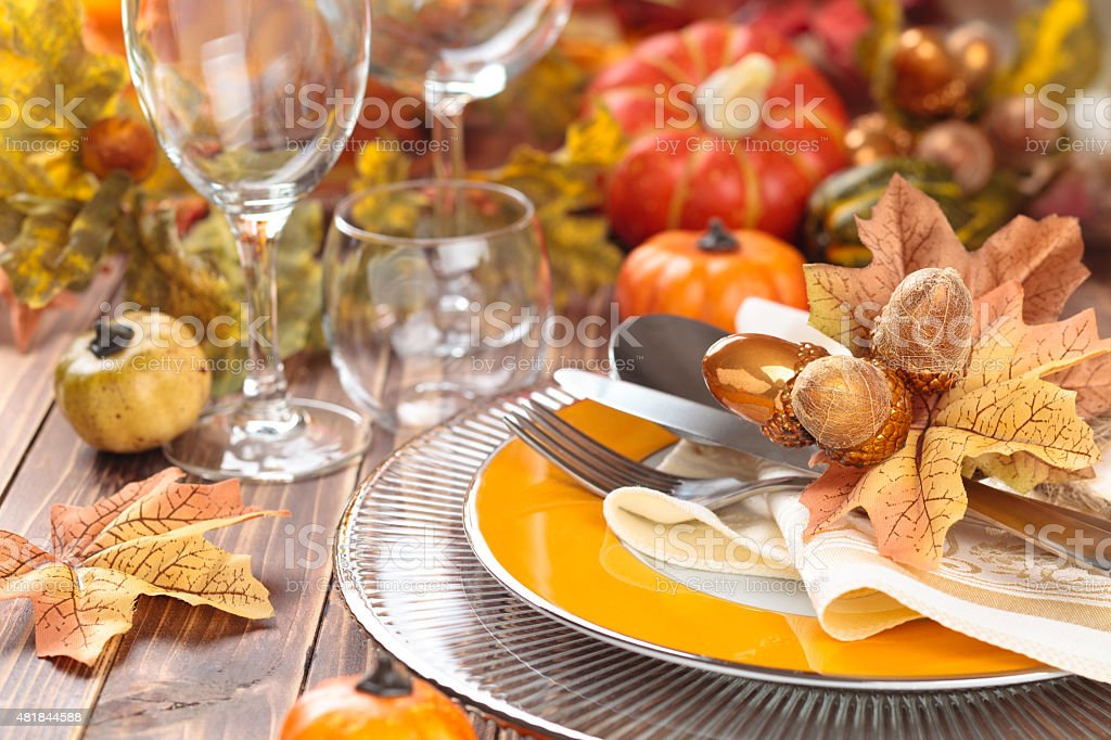 Thanksgiving dinner decoration. stock photo