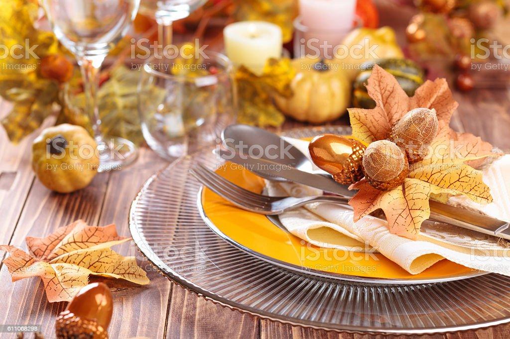 Thanksgiving dinner decoration. stock photo