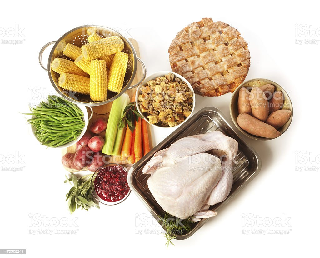 Thanksgiving Dinner Preparation Ingredients and Turkey Isolated on White Background stock photo