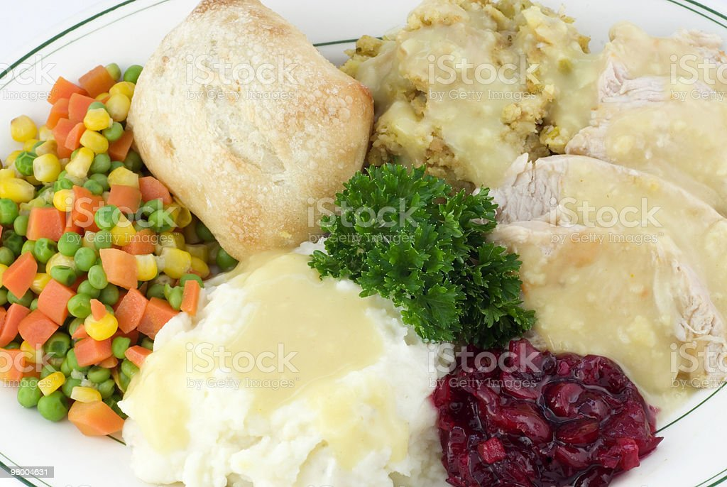 Thanksgiving Dinner with Turkey and Dressing stock photo