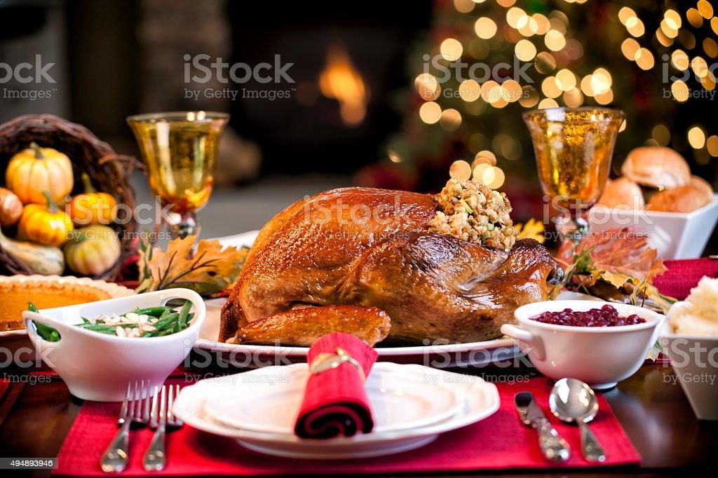 Thanksgiving Elegant Holiday Turkey Dinner stock photo
