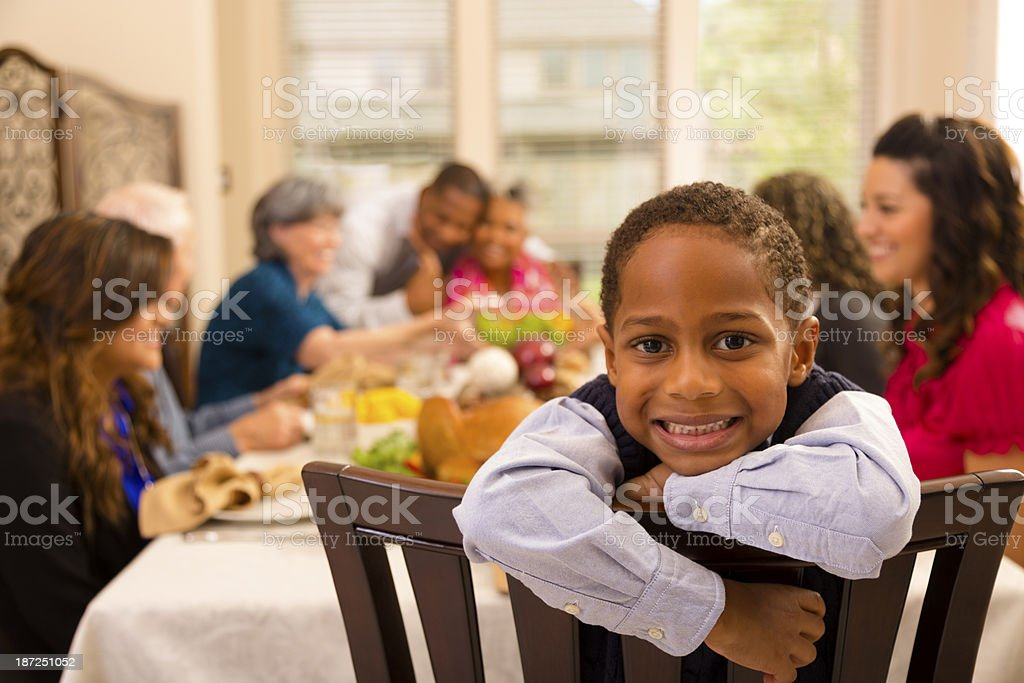 Thanksgiving: Family and friends gather for dinner at grandma's house. stock photo