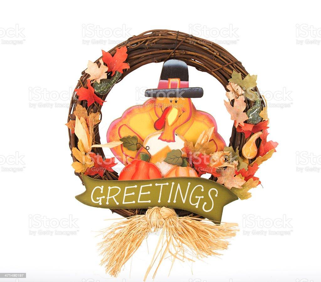 Thanksgiving Holiday Wreath On White stock photo