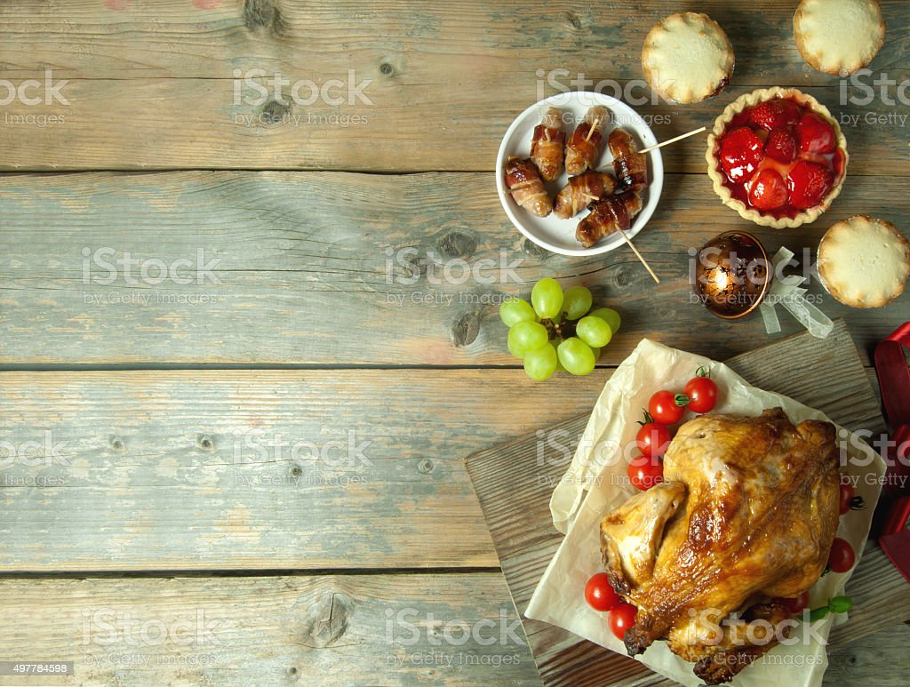 Thanksgiving meal background with space stock photo