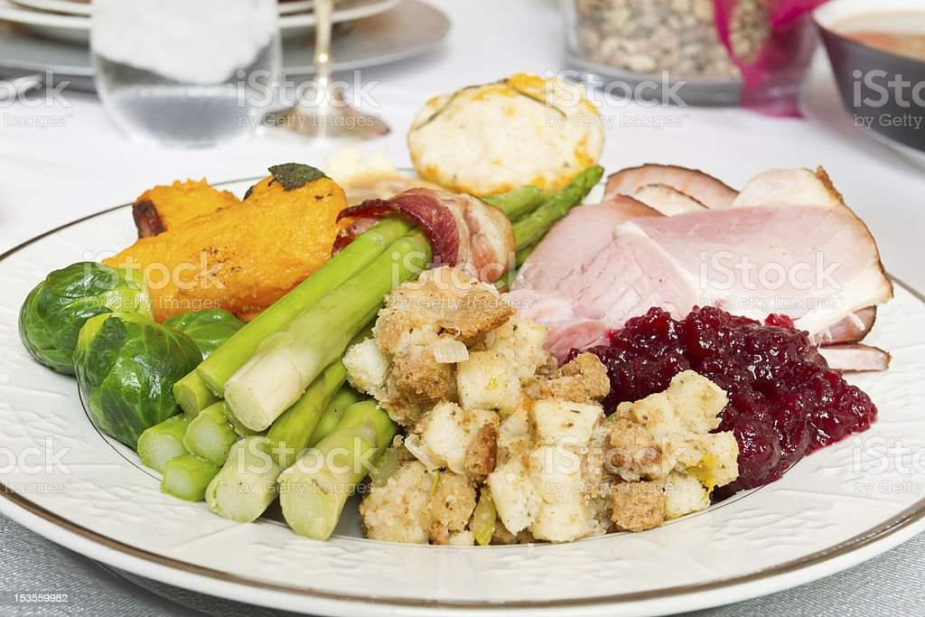 Thanksgiving or Christmas Dinner royalty-free stock photo
