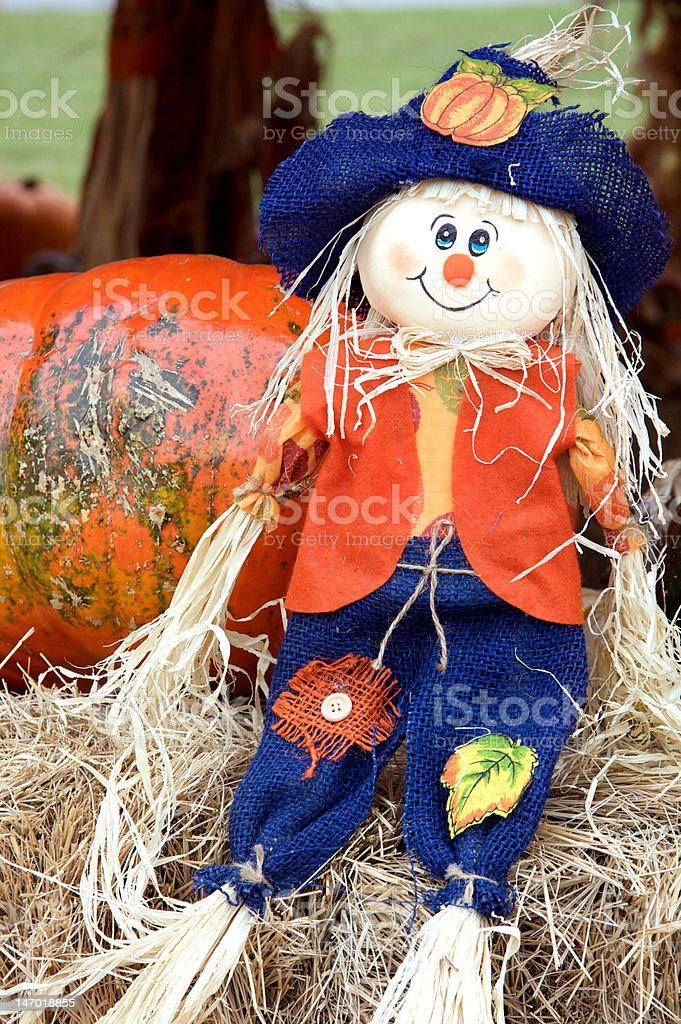 Thanksgiving or Halloween Pumpkin and Doll royalty-free stock photo