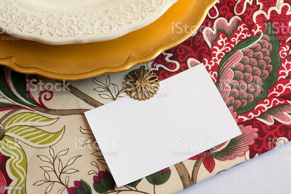 Thanksgiving Place Cards with editable type, on tablecloth stock photo