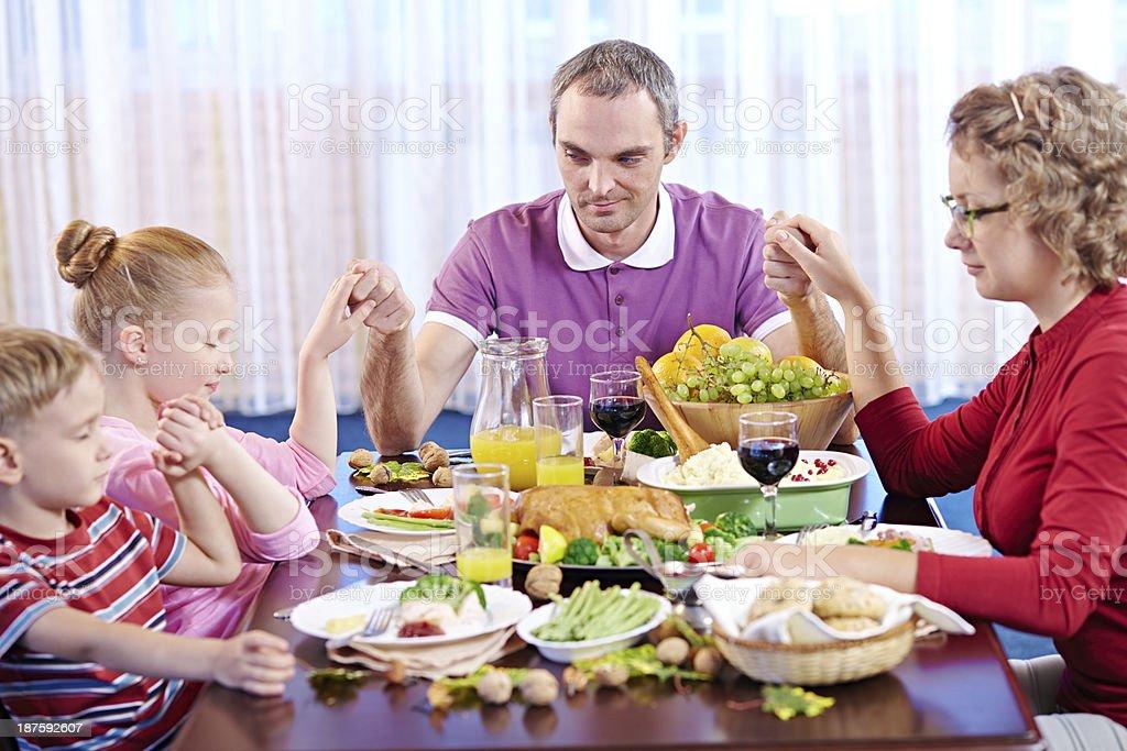 Thanksgiving prayer royalty-free stock photo