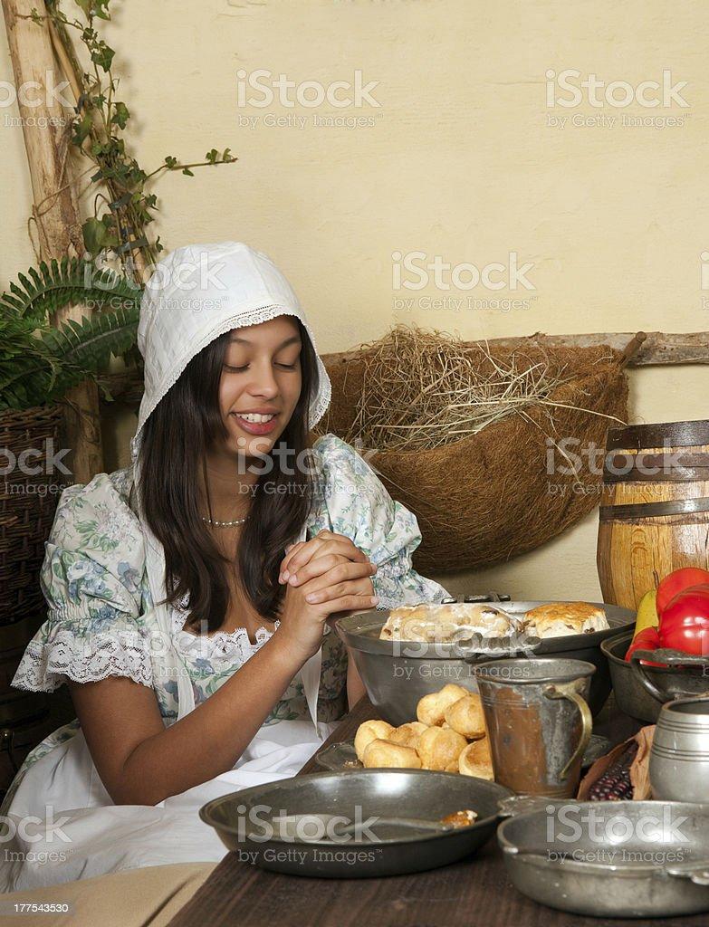Thanksgiving praying girl royalty-free stock photo