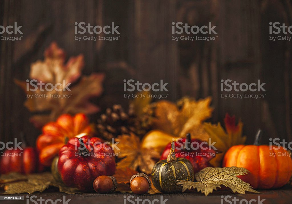 Thanksgiving still life background with pumpkins and autumn leaves stock photo