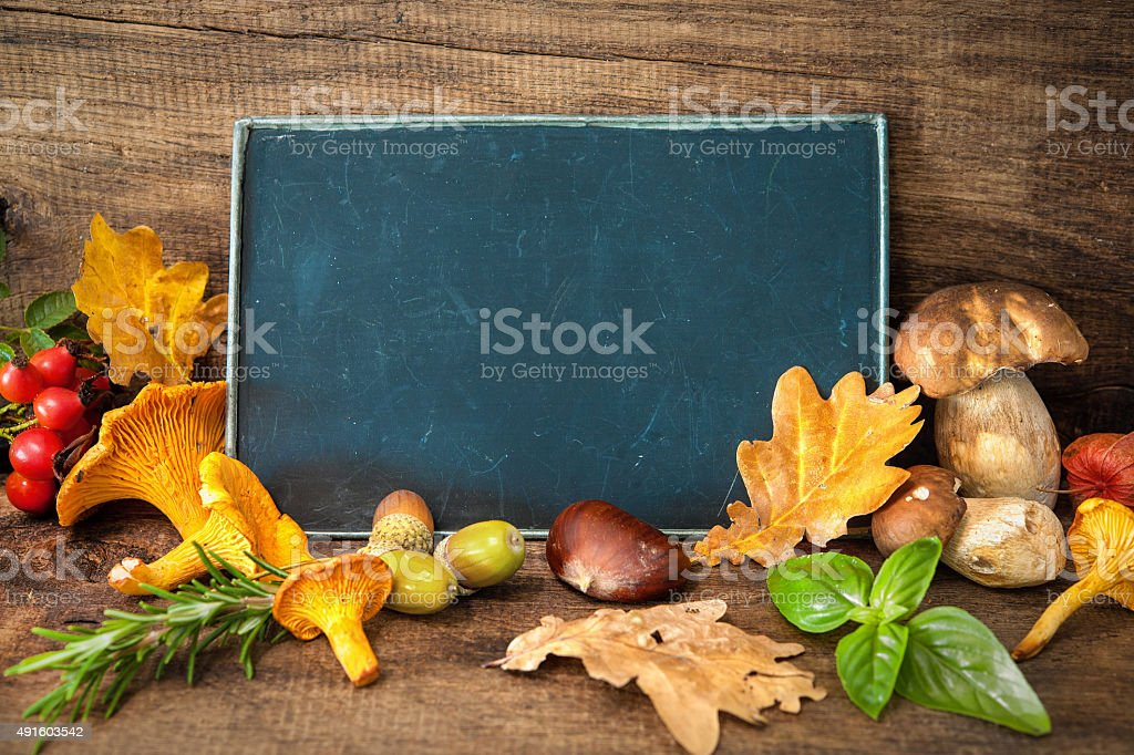 Thanksgiving still life with mushrooms, seasonal fruit and veget stock photo