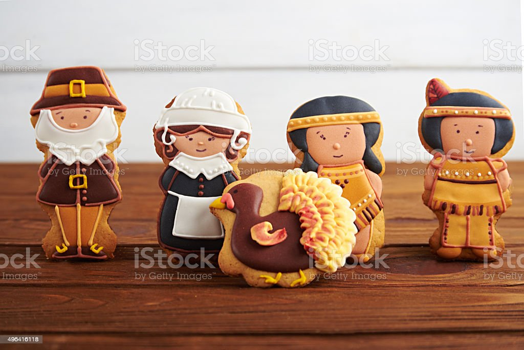 Thanksgiving sweets on a wooden background stock photo