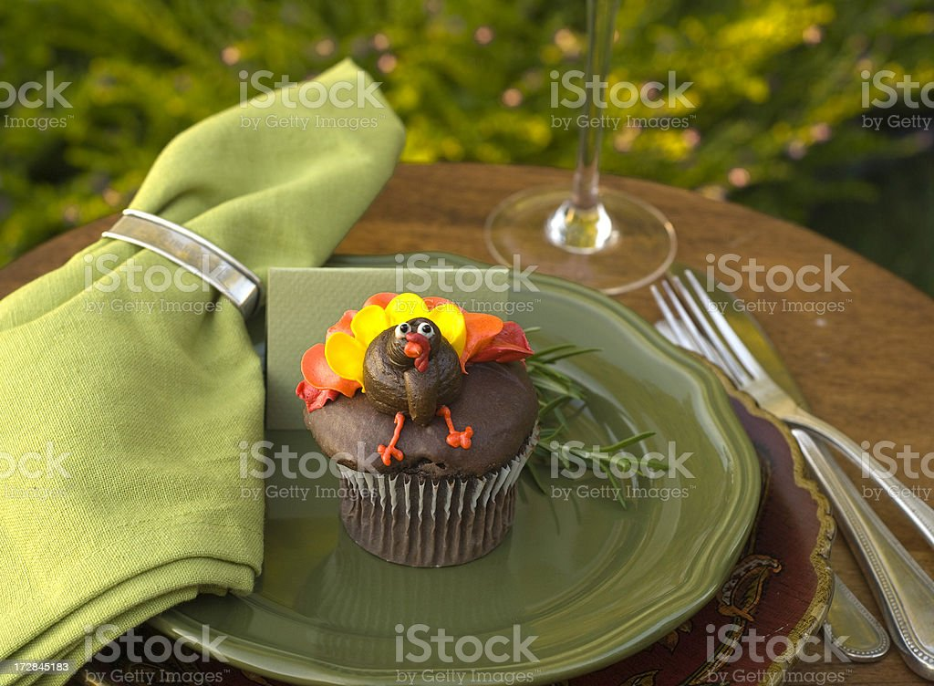 Thanksgiving Turkey Cupcake & Table Place Setting royalty-free stock photo