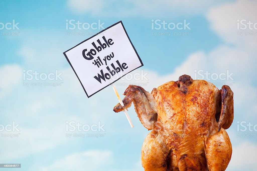 Thanksgiving turkey holding sign royalty-free stock photo