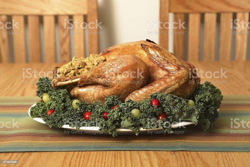 Thanksgiving Turkey on table royalty-free stock photo