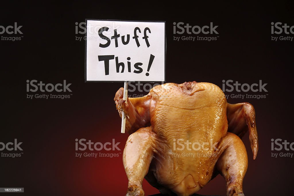 Thanksgiving Turkey with Sign stock photo