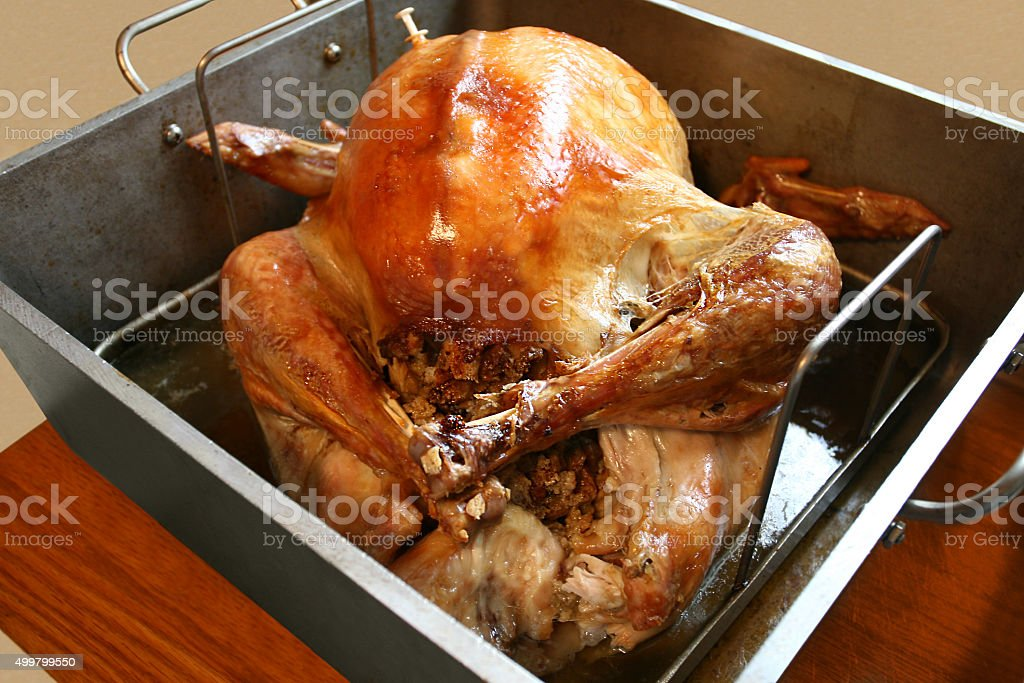 Thanksgiving turkey with stuffing in vintage dutch oven. stock photo