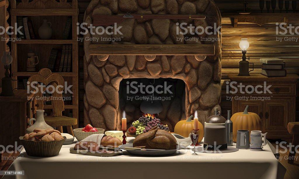 Thanksgving Cabin Dinner stock photo