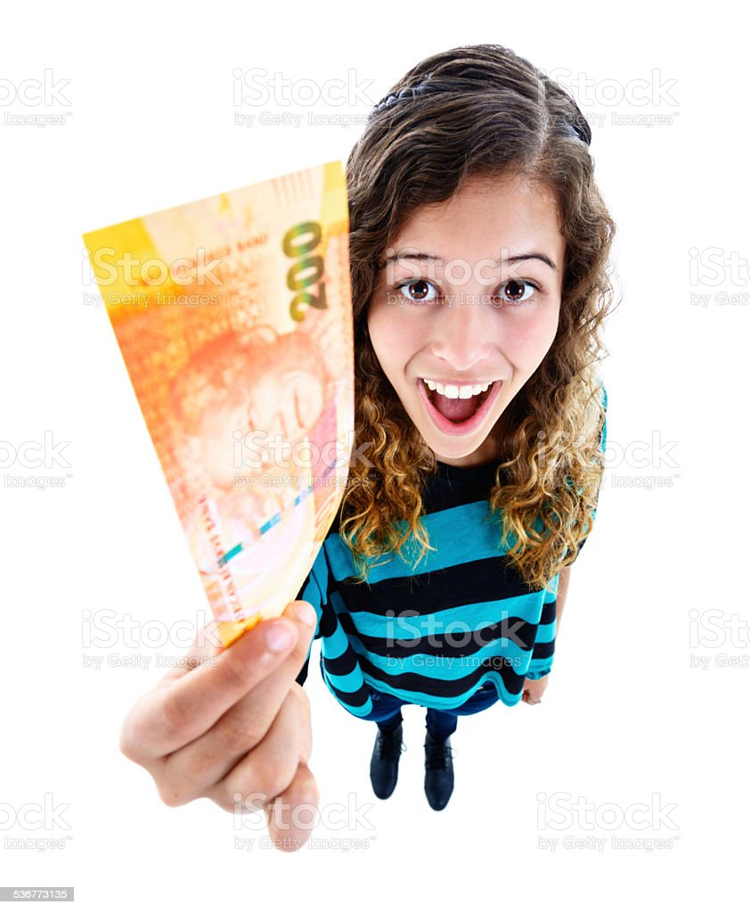 Thankyou! Delighted young cutie holding up two hundred Rand banknote stock photo