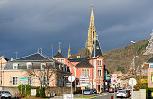 Thann village in Alsace, France main street