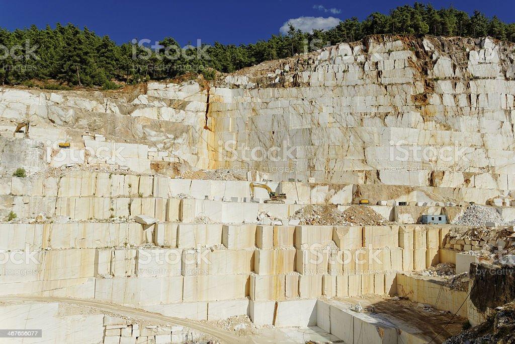 Thassos white marble quarry stock photo