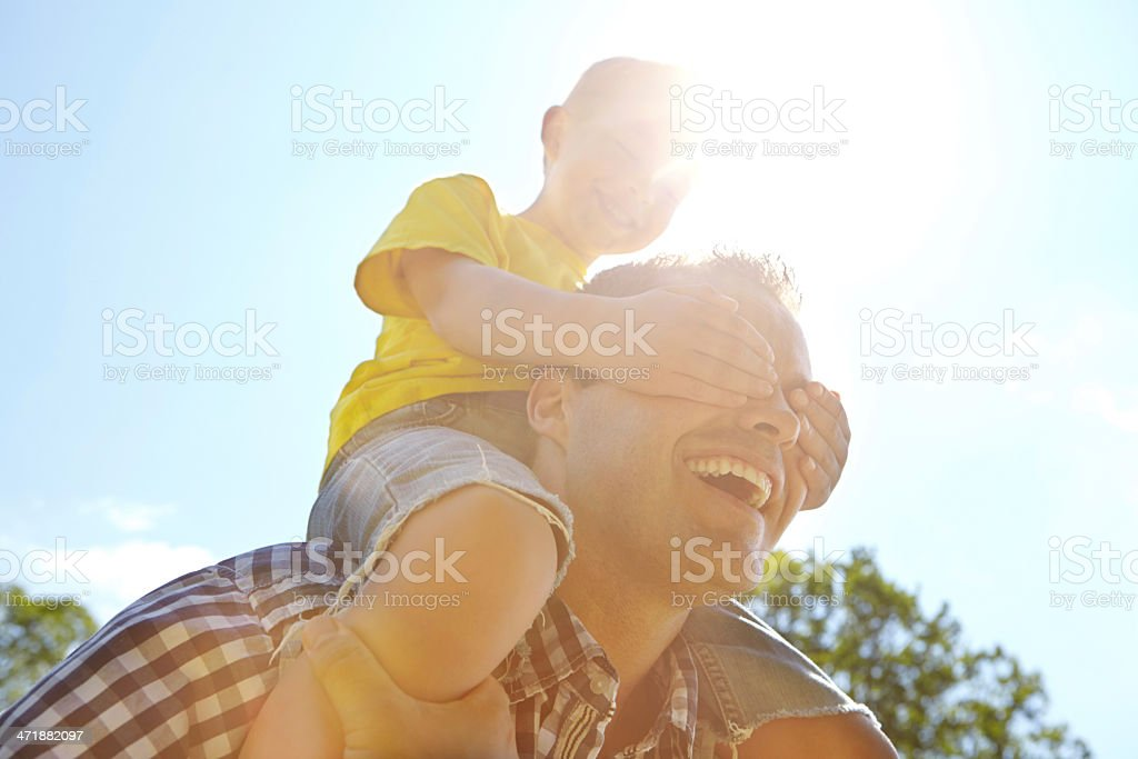 That blocks out the sun, thanks my boy royalty-free stock photo