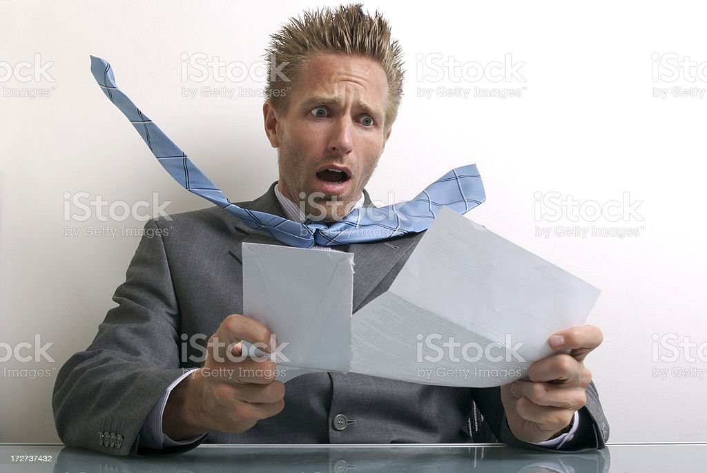 That Can't Be Right! Shocked Businessman Opening Bill royalty-free stock photo